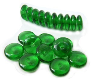 Czech Glass Rondell Disk Spacer Beads 6mm Green Emerald x50
