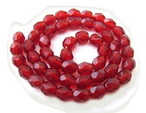Czech Glass Fire Polished beads - 3mm Ruby x50