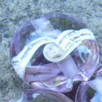 Silvered Ivory Swirl Light Lavender 18mm Lentil Handmade Artisan Glass Lampwork Beads - By the Bead, (Made to Order)