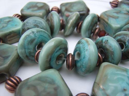 Verdigris Copper Green Diamonds and Disks -  Ian Williams Artisan Glass Lampwork Beads