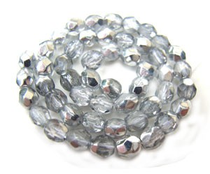 Czech Glass Fire Polished beads 3mm Silver Half Coated Metallic x50
