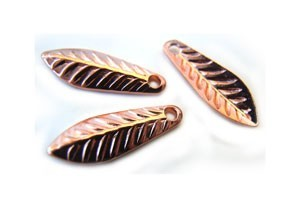 Embossed Leaf Drop Charm 11.5x4mm Copper Plated x144