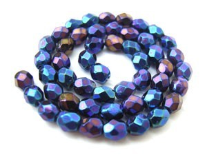 Czech Glass Fire Polished beads - 3mm Iris Blue x50
