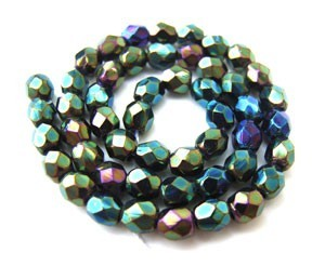 Czech Glass Fire Polished beads - 3mm Iris Green x50