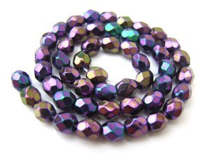 Czech Glass Fire Polished beads - 3mm Iris Purple x50