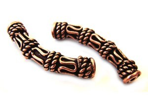 Copper Beads - Antique Bali Style 27mm Tube Bead x1