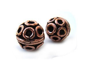 Copper Beads - Antique Bali Style 8mm Round Bead x1