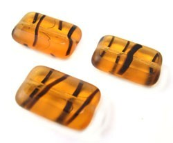 Czech Glass Beads - Rectangle 12x8mm Tortoise x10