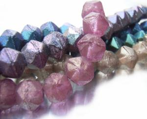Czech Glass Antique English Cut Beads - 10mm Halo Persian Pink x1 Strand (15pc)