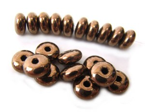 Czech Glass Rondell Disk Spacer Beads 4mm Bronze x100