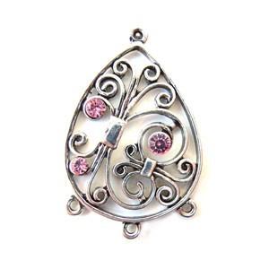 Chandelier Fancy Scroll Wire with Swarovski Crystal - Light Rose x1