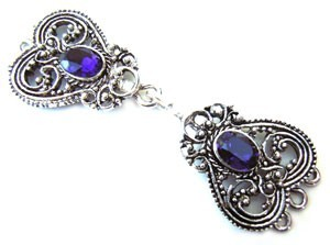 Timeless Vintage Filigree Hearts 3- Strand Hook & Eye Clasp with Swarovski Crystals - Purple Velvet