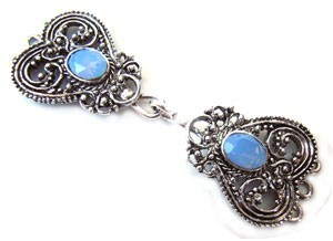 Timeless Vintage Filigree Hearts 3- Strand Hook & Eye Clasp with Swarovski Crystals - Air Blue Opal