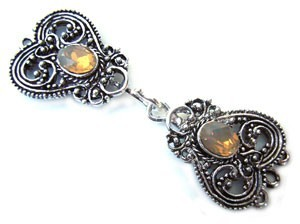 Timeless Vintage Filigree Hearts 3- Strand Hook & Eye Clasp with Swarovski Crystals - Sand Opal
