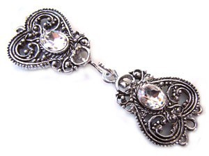 Timeless Vintage Filigree Hearts 3- Strand Hook & Eye Clasp with Swarovski Crystals - Crystal Clear