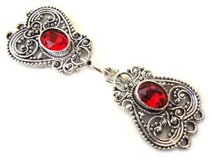 Timeless Vintage Filigree Hearts 3- Strand Hook & Eye Clasp with Swarovski Crystals - Light Siam