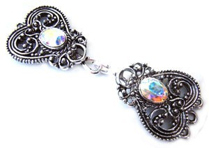 Timeless Vintage Filigree Hearts 3- Strand Hook & Eye Clasp with Swarovski Crystals - Crystal AB