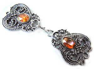 Timeless Vintage Filigree Hearts 3- Strand Hook & Eye Clasp with Swarovski Crystals - Crystal Copper