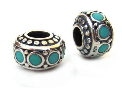 Sterling Silver Bead 9.6x6.3mm - 3.9mm Hole Turquoise Dot Rondelle x1