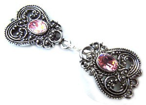 Timeless Vintage Filigree Hearts 3- Strand Hook & Eye Clasp with Swarovski Crystals - Light Rose