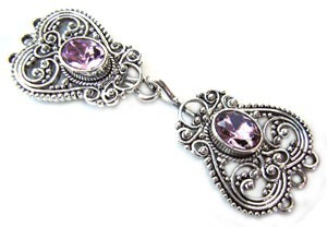 Timeless Vintage Filigree Hearts 3- Strand Hook & Eye Clasp with Swarovski Crystals - Light Amethyst