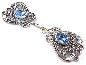 Timeless Vintage Filigree Hearts 3- Strand Hook & Eye Clasp with Swarovski Crystals - Light Sapphire