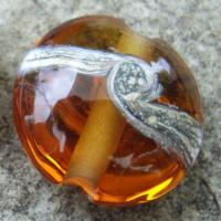 Silvered Ivory Swirl Medium Amber 18mm Lentil Handmade Artisan Glass Lampwork Beads - By the Bead, (Made to Order)