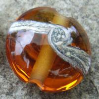 Silvered Ivory Swirl Medium Amber 18mm Lentil Handmade Artisan Glass Lampwork Beads - By the Bead, (Made to Order)