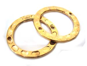 Bali Gold Vermeil 19mm Round Ring Link Connectors x1