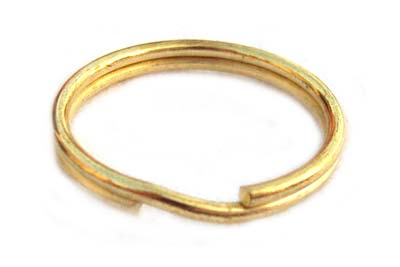 Tempered Steel 24mm Split Rings Keyring (Gold) x1