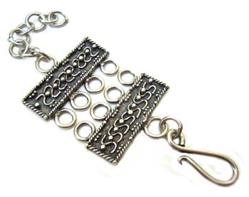 BALI Sterling Silver 77x23mm 4 Strand Hook & Eye Clasp x1