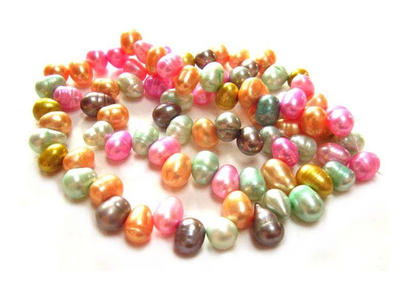 Freshwater Pearl Beads - Top Drilled Rice - Candy Mix