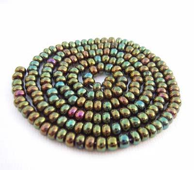 Czech Seed Beads 6/0 Green Iris 1 mini Hank