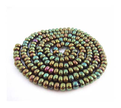 Czech Seed Beads 8/0 Green Iris 1 mini Hank