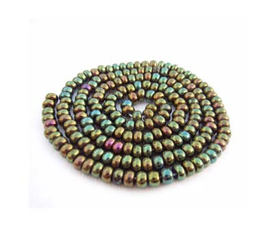 Czech Seed Beads 11/0 Green Iris mini hank
