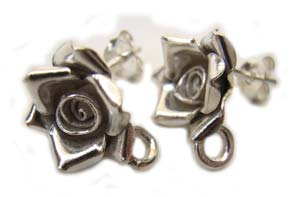 Thai Karen Hilltribe Silver Rose Earposts (bright) x1 pr