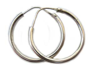 Bali Sterling Silver 25mm Earring Hoops x1pr