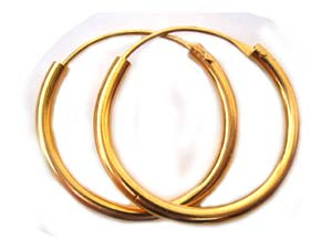 BALI Gold Vermeil 25mm Earring Hoops x1pr