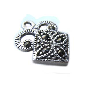 Thai Sterling Silver 16.5mm Marcasite Motif Charm x1