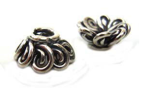 BALI Sterling Silver 8x4mm Fancy Loops Bead Cap x1
