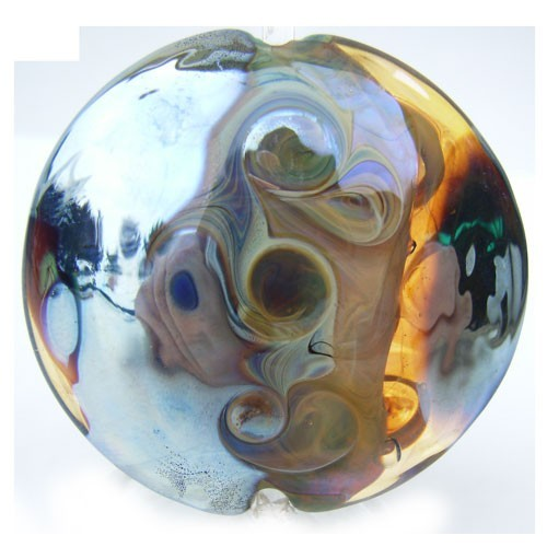 Swirled Mirrors Lentil 37mm ~ Ian Williams Handmade Artisan Glass Lampwork Pendant Bead x1