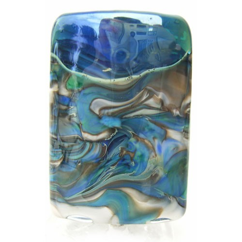 Tempest Sleek Pillow 39mm ~ Ian Williams Handmade Artisan Glass Lampwork Pendant Bead x1