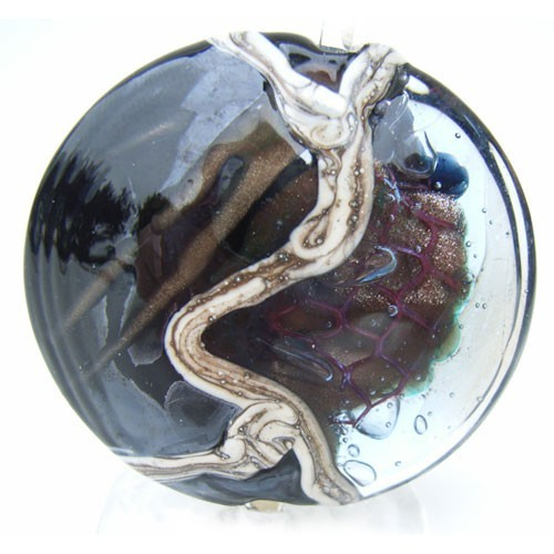 "1.5"" Dark Storm Lentil 36mm ~ Ian Williams Handmade Artisan Glass Lampwork Pendant Bead x1"