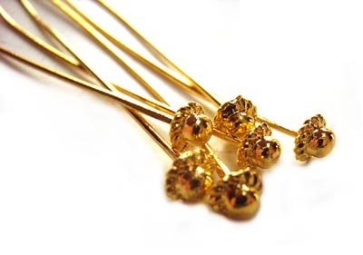 "Gold Colour 21g Fancy Head Pins 2"" 52.7mm"