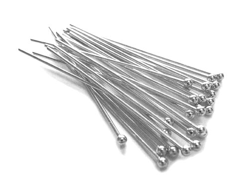 Silver Colour Brass 21g Ball Ballpoint Head Pins 38.5mm