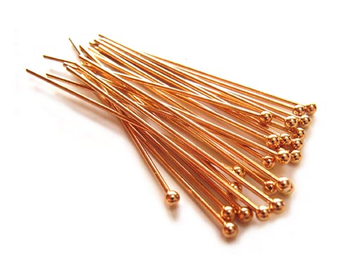 Gold Colour Brass 21g Ball Ballpoint Head Pins 38.5mm