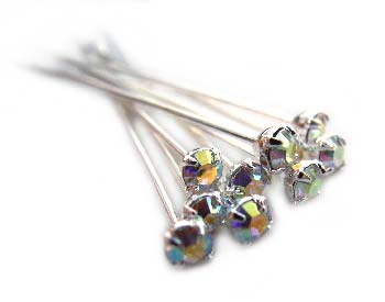 Swarovski Crystal Silver 3mm Headpins Anti Nickel Allergenic 22 gauge 37mm - Crystal AB x1