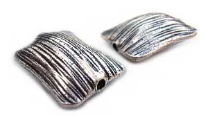Thai Karen Hill Tribe Silver Beads - 20x15mm - Textured Sleek Pillow Bead x1