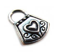 BALI Sterling Silver 13.4mm Heart Handbag Purse Charm x1