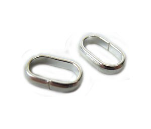 Flat Oval Jump Rings - Bails 5x8mm Silver Plated x144